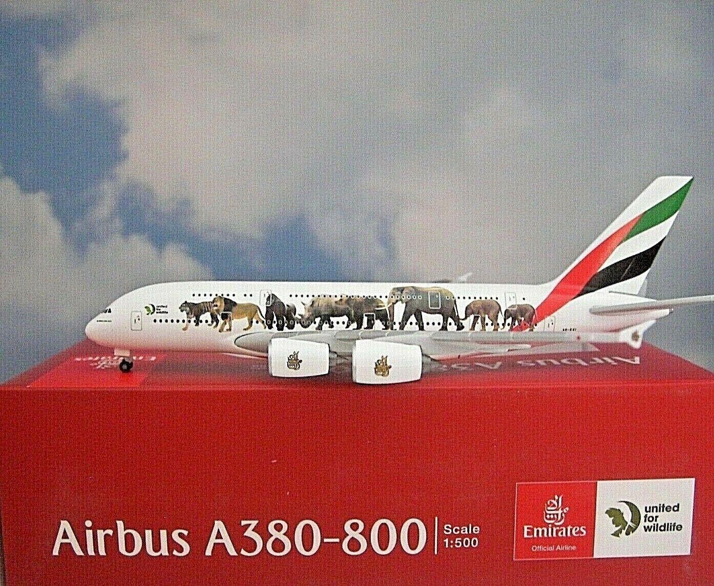 Herpa Wings1 500 Airbus A380 Emirates United Wildlife 01 531764 Modellairport500    Gewinnen Sie hoch geschätzt