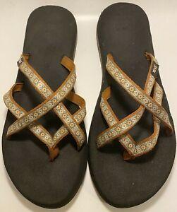 Teva Women's Strappy Mesh Flip Flops Thongs Sandals S/N # 68403 Size 10 - 41