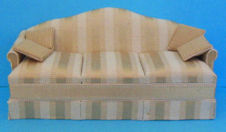 Dollhouse Vintage Handcrafted MiniGraphics traditional sofa & pillows 1:12 scale