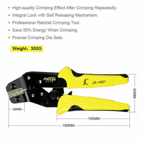 0.25-2.5mm² 4in1 Crimper Clamp Tool Wire Ratchet Crimping Pliers Terminal Set