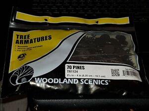 "OO gauge Woodland Scenics TR1124 2 ½ - 4"" bendable Tree Armatures 70 Pines"