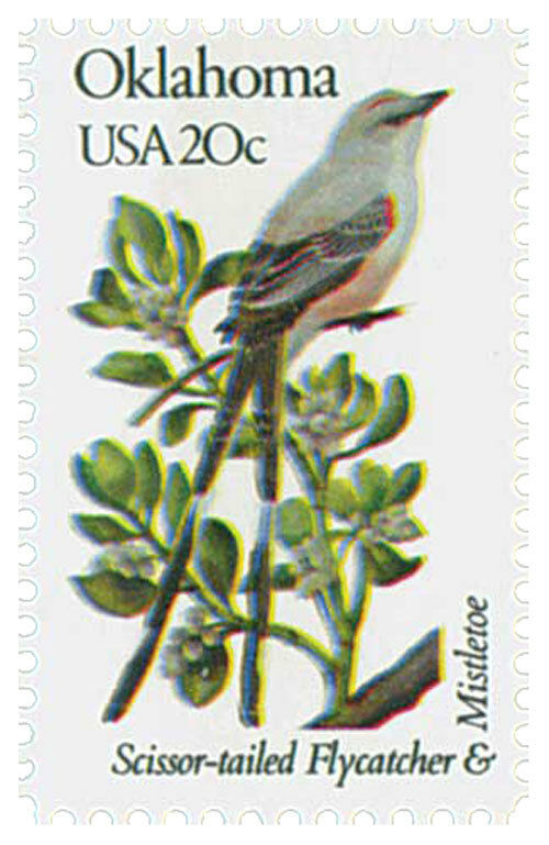 1982 20c State Birds & Flowers Oklahoma Flycatcher, Mis