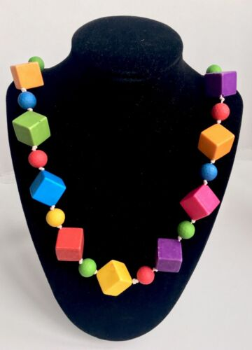 Funky chunky multi coloured Summer longline cube necklace UK seller