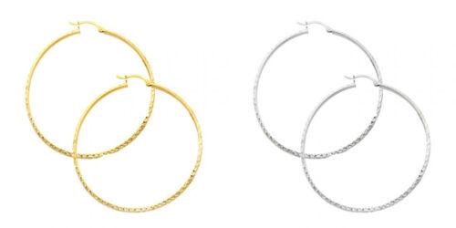 14k Yellow White Gold 3mm Thick Diamond Cut Hinged Hoop Earrings 35mm Diameter