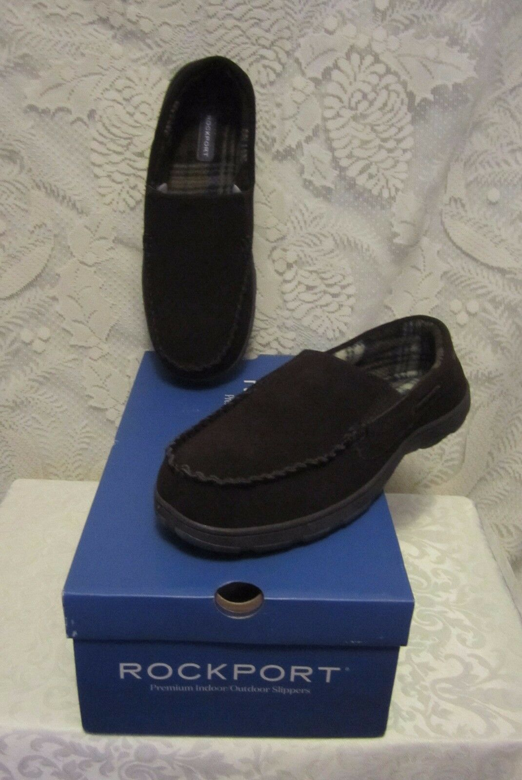 Mens Rockport Mocasin Loafer Suede IndoorOutdoor Slippers Brown Size 11 NWBox