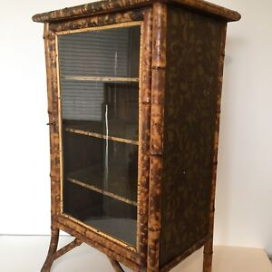Image Is Loading Antique English Victorian Bamboo Cabinet Curio Chinoiserie  Lacquer