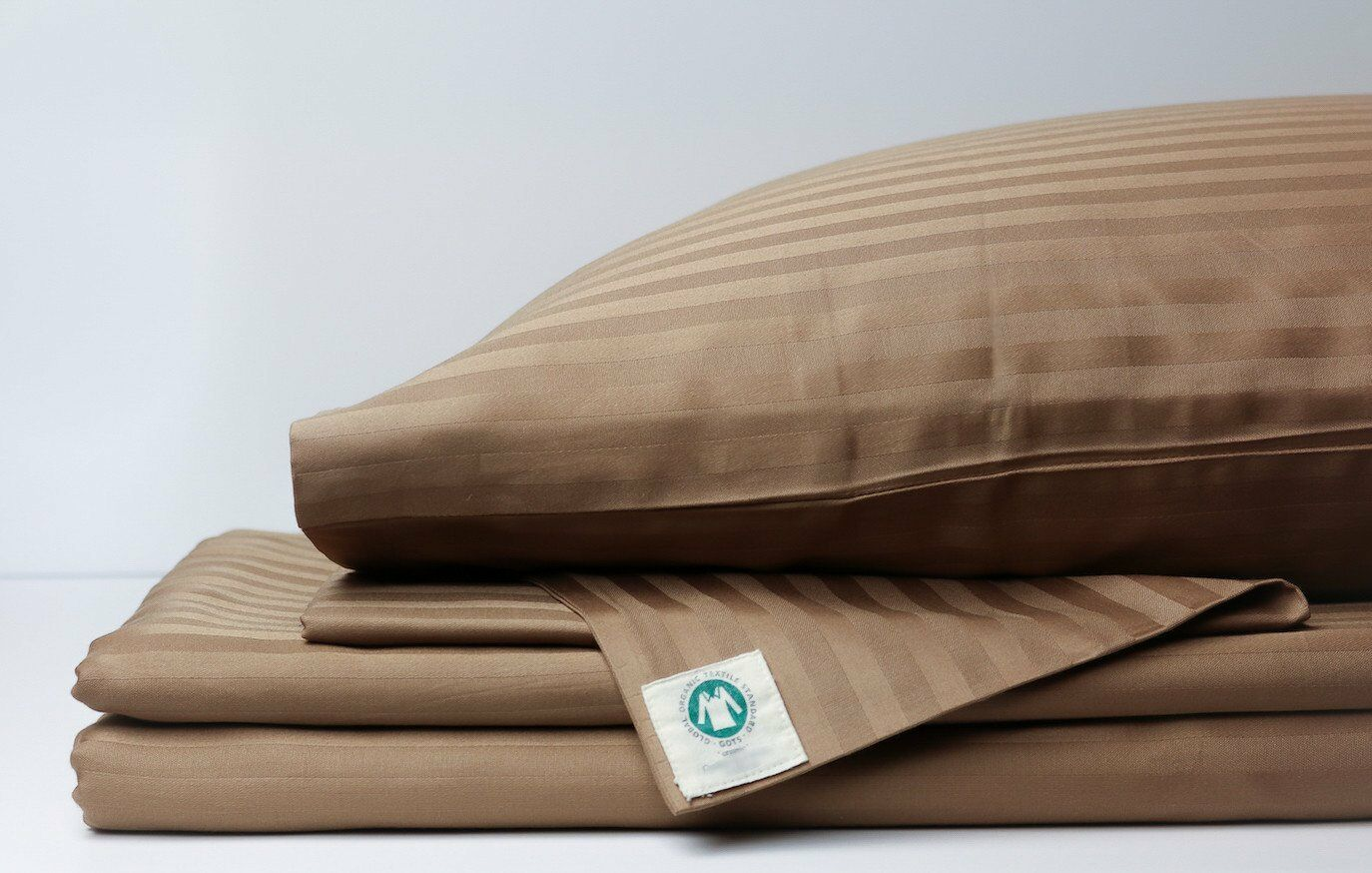 Stripe Sateen Sheet Set - Chocolate