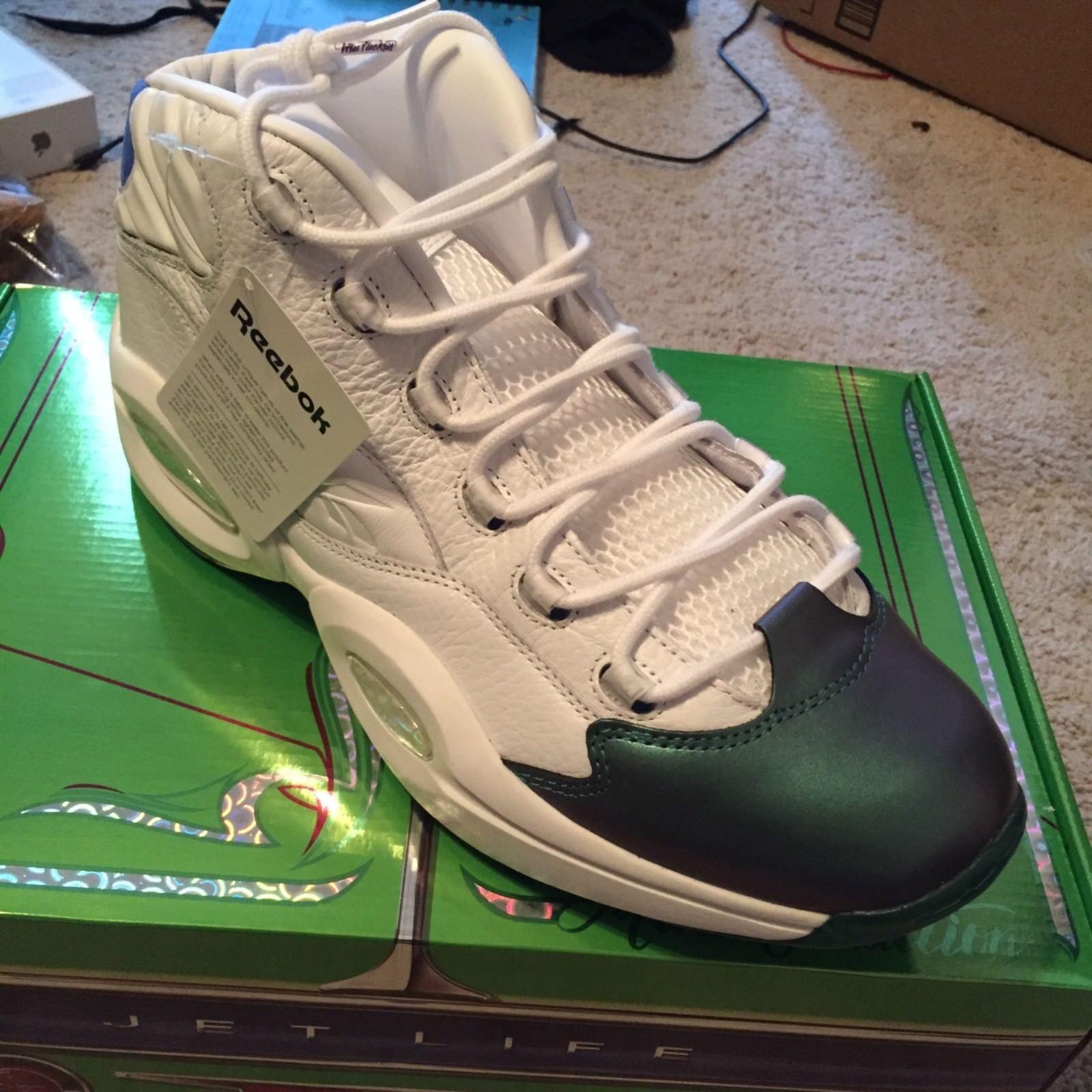 Reebok Question Mid x Curren y  Jet Life  (Stem Green bluee) Men's shoes CN3671