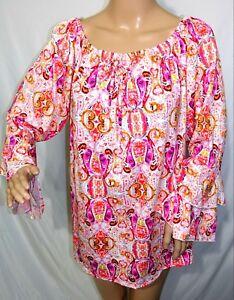 Arabella Women Plus Size 1x 2x 3x Pink Coral Paisley Tunic Top Blouse Shirt