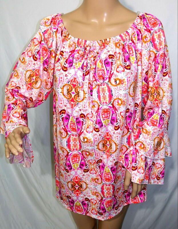 Arabella Damen Übergröße 1x 2x 3x Rosa Koralle Paisley Tunika Top Bluse Hemd