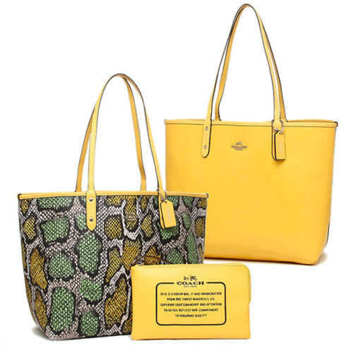 Coach Bag F37676 Snake Print Reversible City Tote Canary Multicolor Agsbeagle