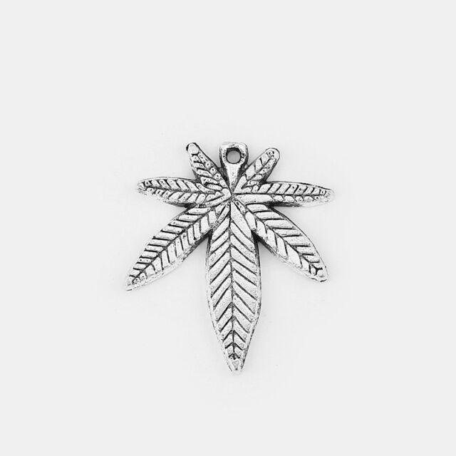 Wholesale 50//100//200Pcs Antique Silver Marijuana Leaf Pot Charm Pendants