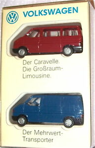 2-PARTI-VW-CARAVELLE-Trasportatore-MODELLO-PUBBLICITARIO-Wiking-1-87-A