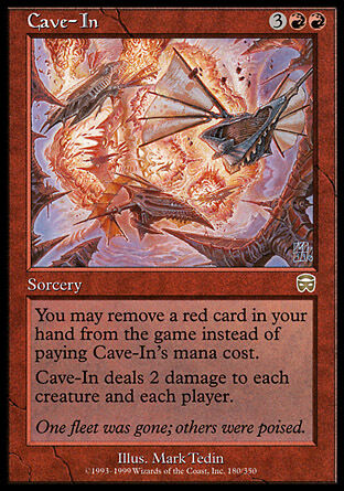 1x Cave-In Mercadian Masques MtG Magic Red Rare 1 x1 Card Cards MP