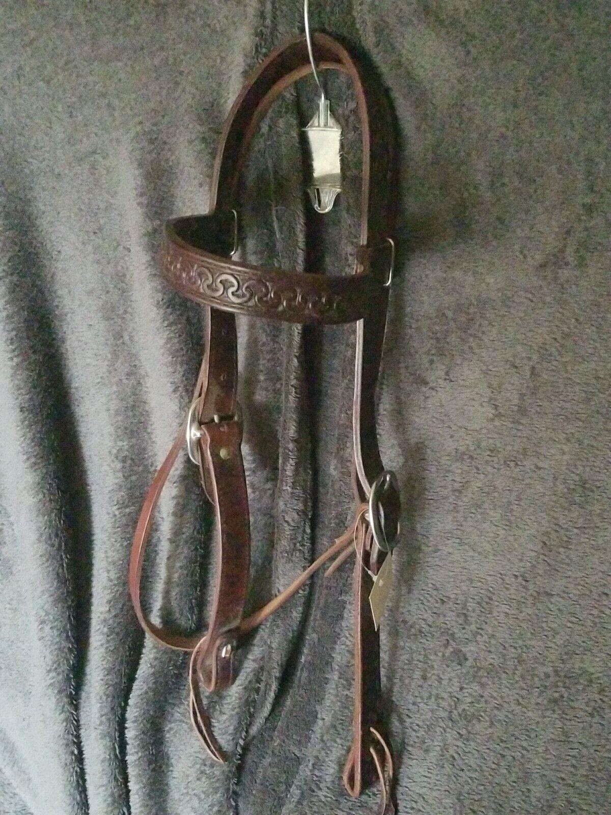 HL Running W HeadstallDimensione 1 WideLarge Horse DimensioneDark OilDouble Stitched