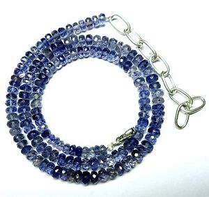 """90CT Natural Iolite Gemstone Rondell Faceted Beads 20.5"""" NECKLACE 4.5-5.5MM S29"""