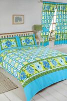 SINGLE BED DUVET COVER SET DAISY CHECK FLORAL AZURE BLUE LIME WHITE BEDDING