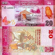 SRI LANKA 20 Rupee Banknote World Paper Money UNC Currency Pick p-123c Note OWL