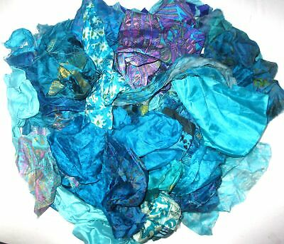 100 SMALL PIECES JOURNAL Sewing LOT PURE SILK Vintage Sari REMNANT Fabric 50