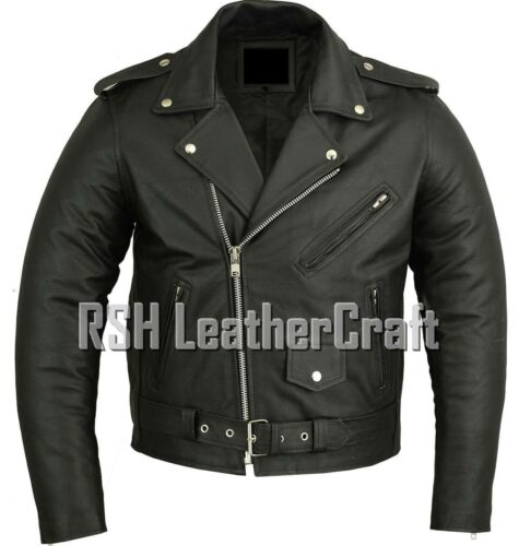 Classic Marlon Brando Biker Motorcycle Black Real Leather Jacket