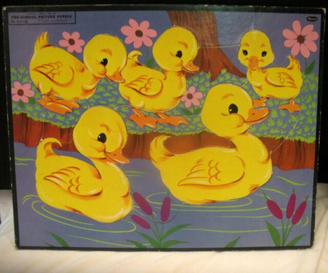 Vintage Whitman Frame Tray Inlay Puzzle Ducks Ducklings Preschool Toy 1955 Nice