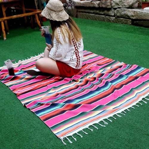 Mexican Striped Blanket Yoga Throw Rug Cotton Saltillo Tablecloth Festival Decor