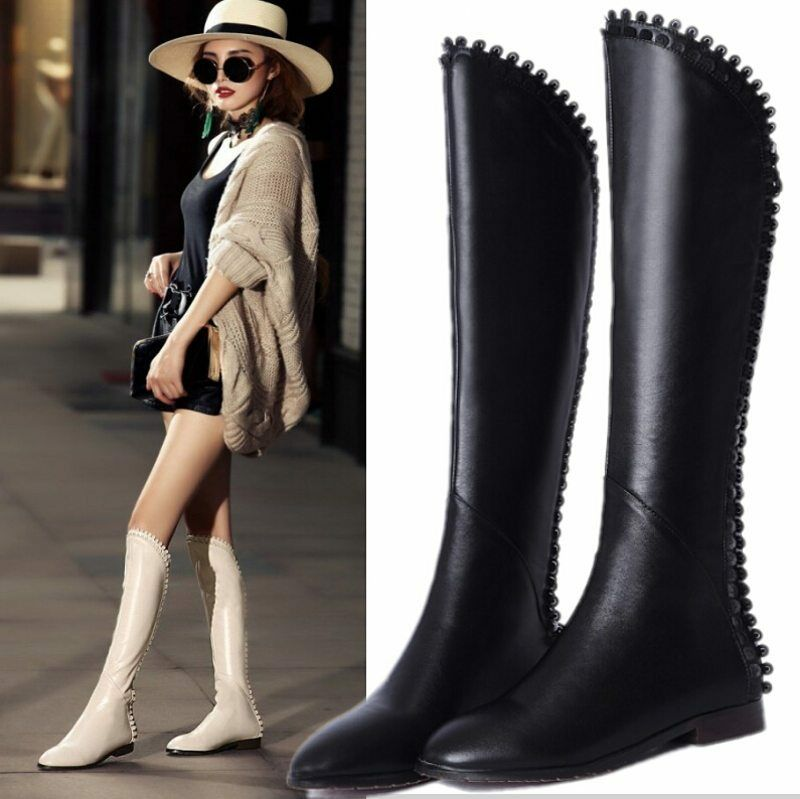 Women's Leather Round Toe Knee High Low Heels Boots Boots Heels Winter Warm Shoes Plus size cc5614