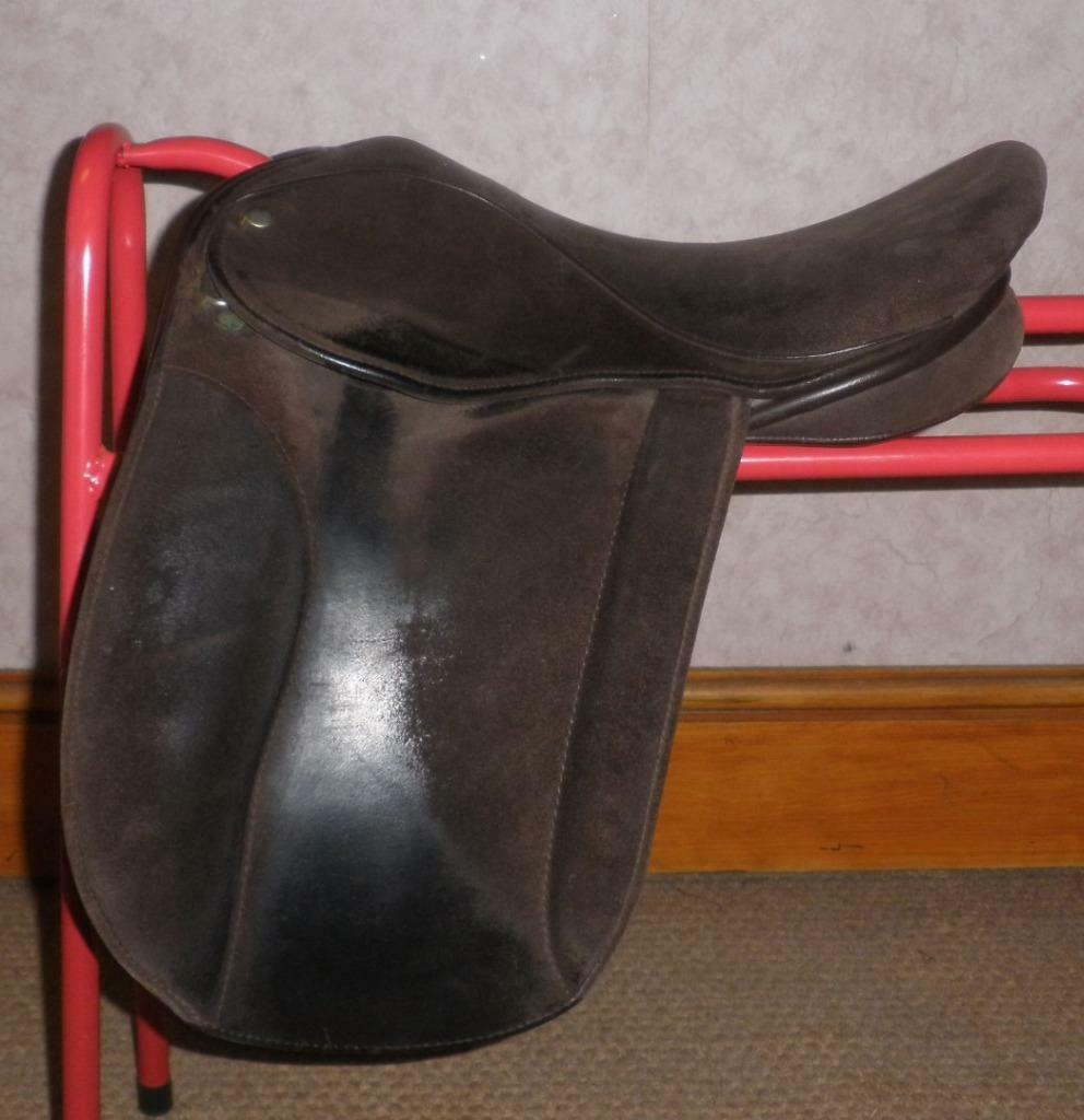 Extra Wide English Suede & Leather Show Saddle By Ideal - 15 1 2  Seat