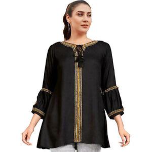 Women Fashion Indian Short Embroidered Light Grey Rayon Kurti Tunic Kurta Top