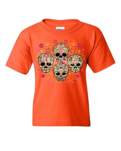 4 Cute Sugar Skulls Youth T-Shirt Calaveras Dia de los Muertos Mexico Kids Tee
