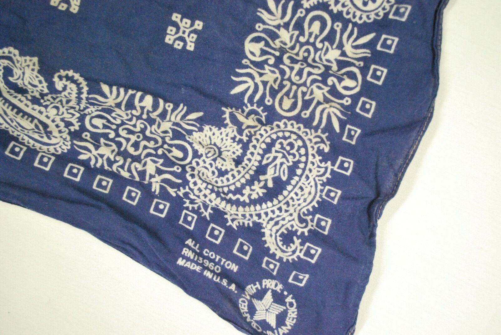 Vintage All 100% Cotton USA Made Bandana Paisley Cowboy Handkerchief Indigo Blue