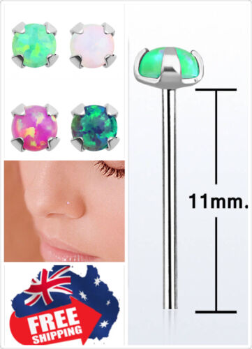 Sterling Silver 22g Bend it yourself with 1.5mm Opal Prong Set Nose Ear Stud 1pc