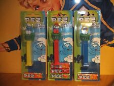 3 PEZ SPENDER-SMURFS-SCHLÜMPFE:SMURF-PAPA SMURF-SMURFETTE-SET OF 3 -ON CARD