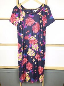 Boden-Navy-Floral-Silk-Blend-Shift-Dress-Size-14-VGC