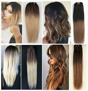 18 Full Head 70 Real Clip In Human Hair Extensions Ombre Brown
