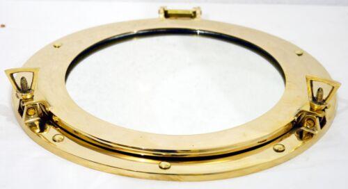 "12/""Round Window Porthole-Shiny Brass Ship Porthole Mirror-Home /& Wall Decor"