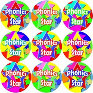 144-Phonics-Star-30-mm-Reward-Adesivi-per-la-scuola-insegnanti-genitori-Nursery