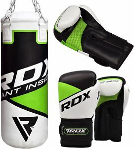 RDX Junior Gefüllt Boxsack Boxhandschuhe Sandsack & Ketten MMA Kickboxen AT
