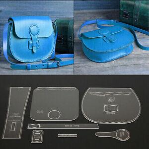 7pcs-Lederhandwerk-Acryl-Umhaengetasche-Handtasche-Muster-Schablone-Vorlage-klar