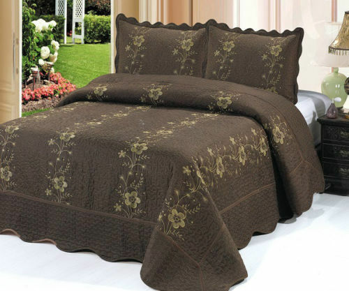 Brown 3 Piece Quilted Bedspread Quilt Shams Floral New