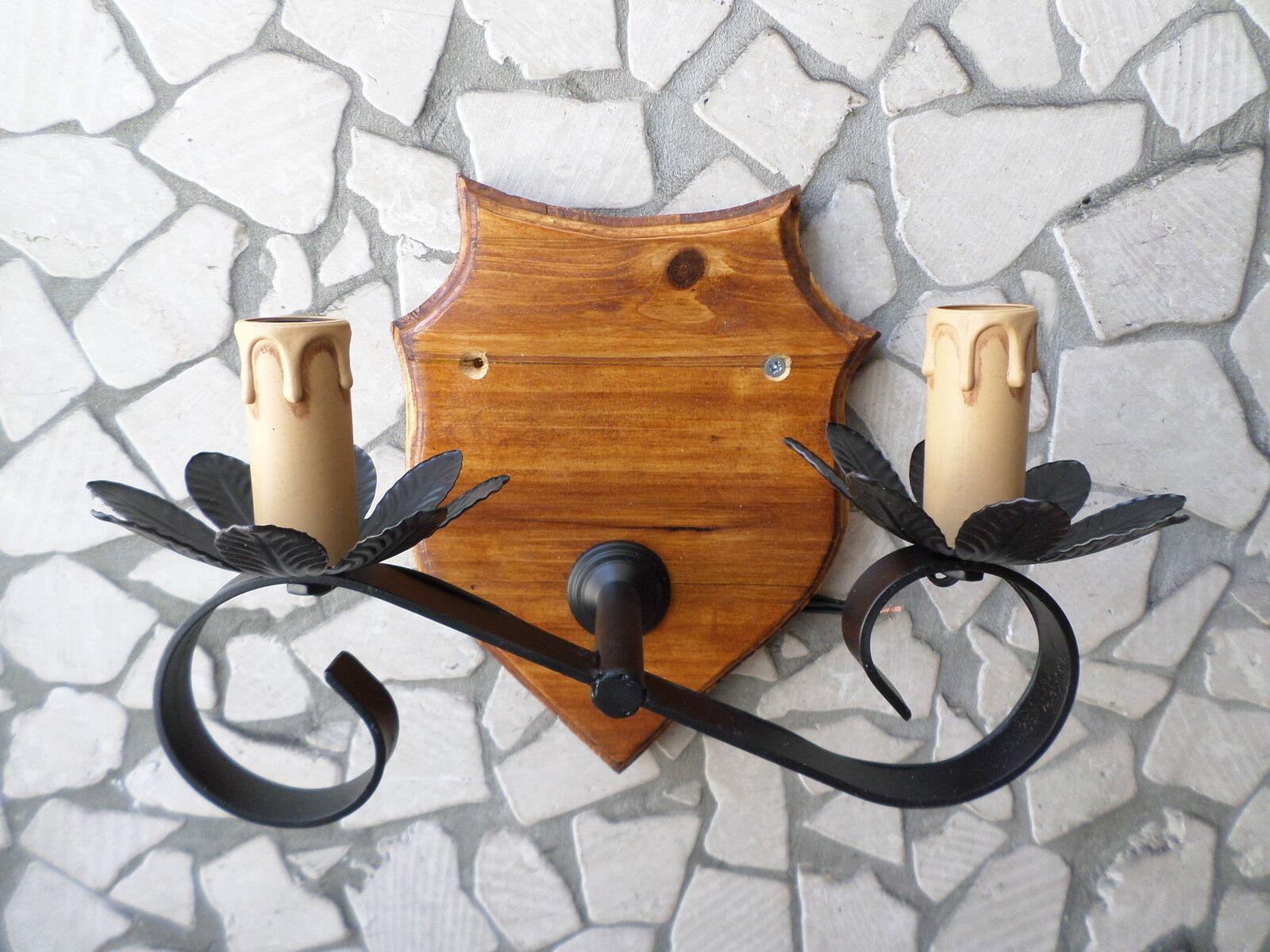 Applique da parete rustico in ferro ferro ferro battuto legno