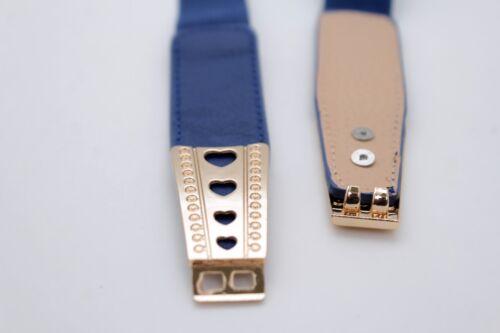 Fun Women Hip High Waist Blue Waistband Fashion Belt Gold Metal Heart Buckle S M