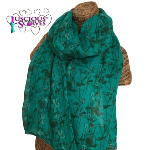 FLORAL TEAL TURQUOISE SCARF ENTWINED FLOWERS DESIGN LADIES SUPERB SOFT QUALITY