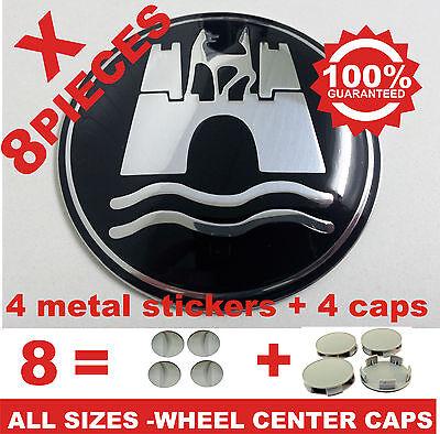 tapas llantas ruedas WOLFSBURG BLACK wheel center caps 4x metal STICKERS