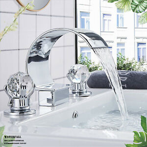 Chrome-Widespread-Bathroom-Basin-Faucet-Waterfall-3-Holes-2-Handles-Mixer-Tap