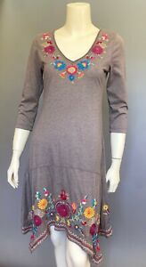 JOHNNY-WAS-Embroidered-JWLA-V-Neck-BRONWYN-Wheat-Flounce-3-4-Sleeve-Dress-S