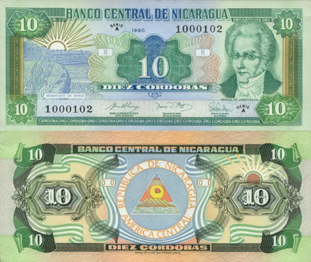 Nicaragua 10 Córdobas (1990) - Sunrise over Rice Field/p175 UNC