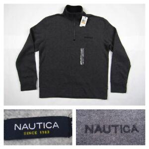 Nautica-Mens-Small-Gray-Half-Zip-Sweatshirt-Pullover-Sweater