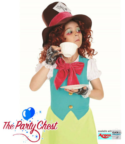 GIRLS LITTLE MISS MAD HATTER COSTUME Child Book Day Tea Party Fancy Dress Outfit