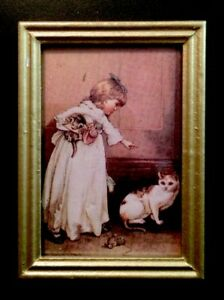 Details about GIRL PRETTY KITTEN PET CAT PICTURE PAINTING DOLLHOUSE  MINIATURE FRAMED ART 1:12